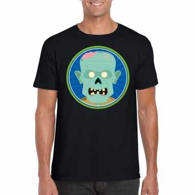 Halloween zombie t shirt zwart heren carnavalskleding valkenswaard