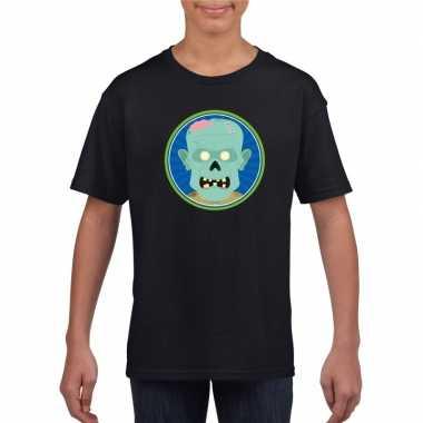 Halloween zombie t shirt zwart kinderen carnavalskleding valkenswaard