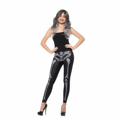Halloween zwarte legging skelet opdruk dames carnavalskleding valkens