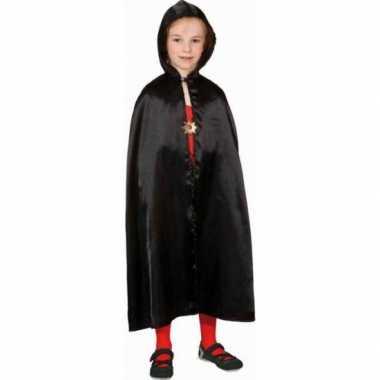Halloween zwarte satijnen cape kinderen