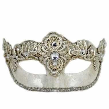 Handgemaakt decoratie zilver oogmasker colombina carnavalskleding val
