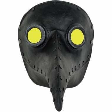 Handgemaakt snavelmasker zwart pestmeester carnavalskleding valkenswa