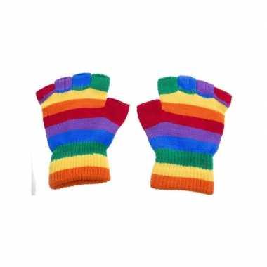 Handschoenen zonder vingers regenboog one size carnavalskleding valke