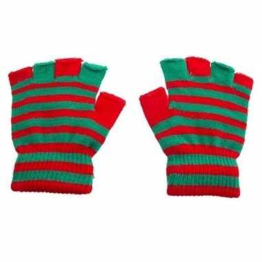 Handschoenen zonder vingers rood groen one size carnavalskleding valk
