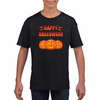 Happy halloween t shirt zwart kinderen carnavalskleding valkenswaard