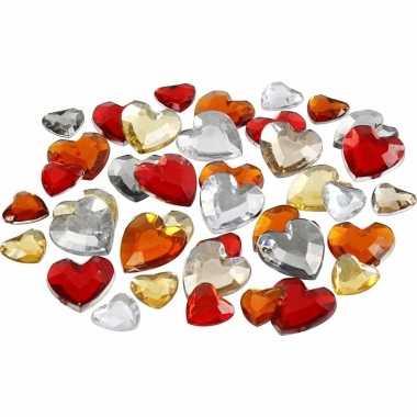 Hartvormige glinster steentjes assorti rood carnavalskleding valkensw