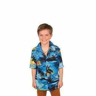 Hawaii blouse/overhemd blauw jongens carnavalskleding valkenswaard