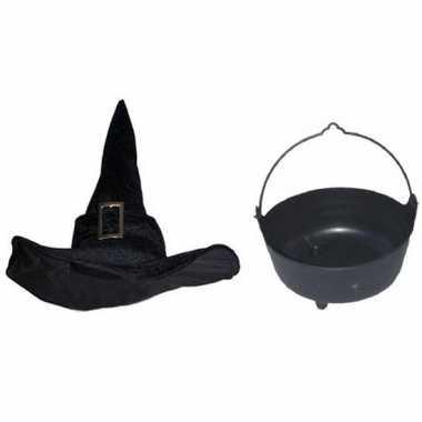 Heksen accessoires set fluwelen hoed ketel dames carnavalskleding val