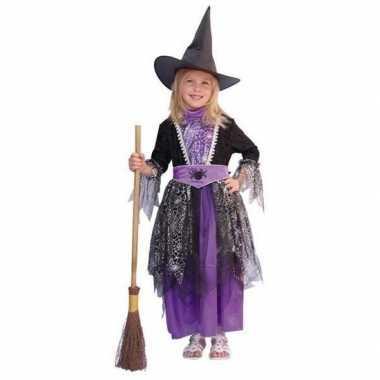 Heksen carnavalskleding zwart/paars kinderen Valkenswaard