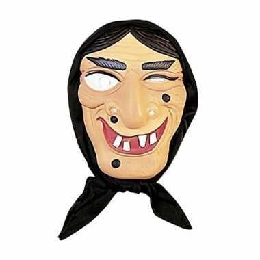 Heksen masker zwart haar hoofddoek carnavalskleding valkenswaard