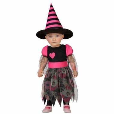 Heksen peuter carnavalskledings heks zwart roze