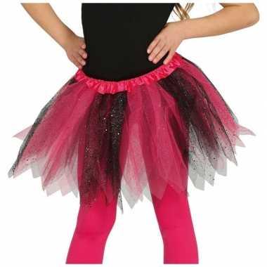 Heksen verkleed petticoat/tutu roze/zwart glitters meisjes carnavalsk