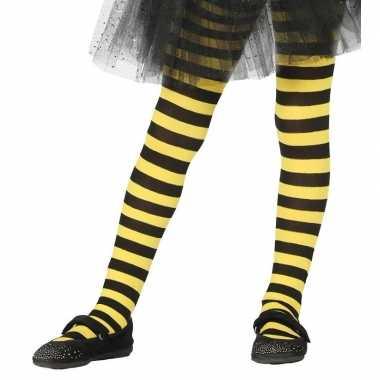 Heksen verkleedaccessoires panty maillot zwart/geel meisjes carnavals