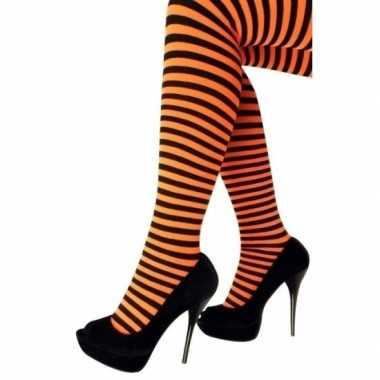 Heksen verkleedaccessoires panty maillot zwart/oranje dames carnavals