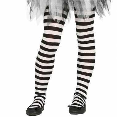 Heksen verkleedaccessoires panty maillot zwart/wit meisjes carnavalsk