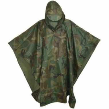 Herbruikbare camouflage regenponcho volwassenen one size carnavalskle