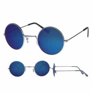 Hippie bril zilver ronde blauwe glazen volwassenen carnavalskleding v