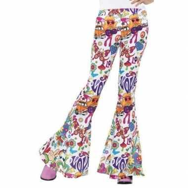 Hippie broek wit love dames carnavalskleding valkenswaard