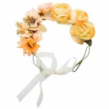 Hippie/flower power oranje verkleed bloemen hoofdband carnavalskledin