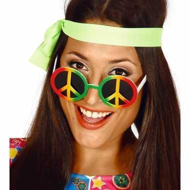 Hippie/flower power peace verkleed bril carnavalskleding valkenswaard