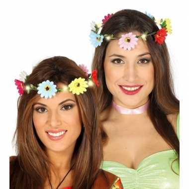Hippie/flower power verkleed bloemen hoofd krans dames carnavalskledi
