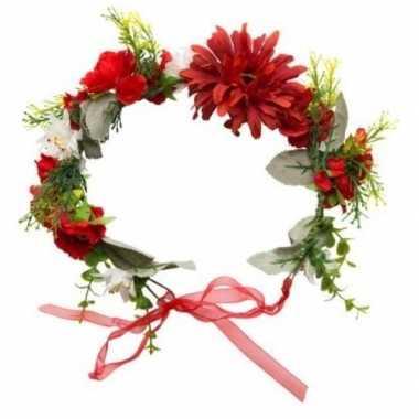 Hippie/flower power verkleed bloemen hoofdband carnavalskleding valke