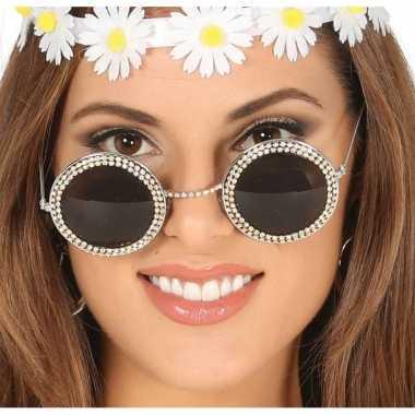 Hippie/flower power verkleed zonnebril ronde glazen carnavalskleding