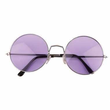 Hippie / flower power xl verkleed bril paars carnavalskleding valkens