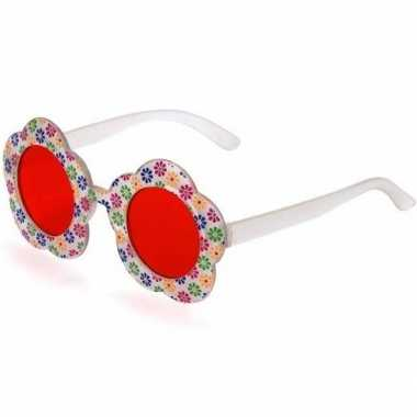Hippie verkleed bril rode glazen volwassenen carnavalskleding valkens