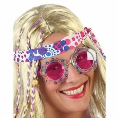 Hippie verkleed bril roze glazen volwassenen carnavalskleding valkens