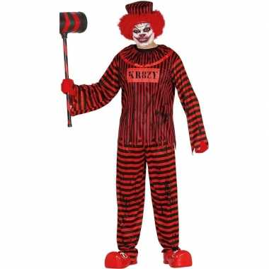 Horror clown gevangene verkleed carnavalskleding rood/zwart heren val