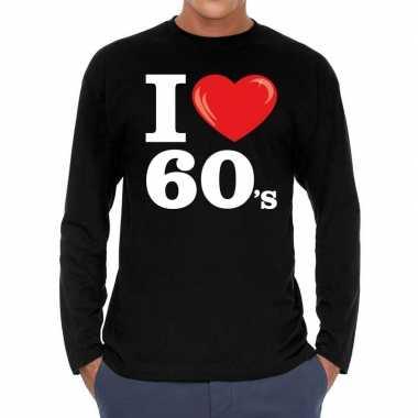 I love s / sixties long sleeve t shirt zwart heren carnavalskleding v