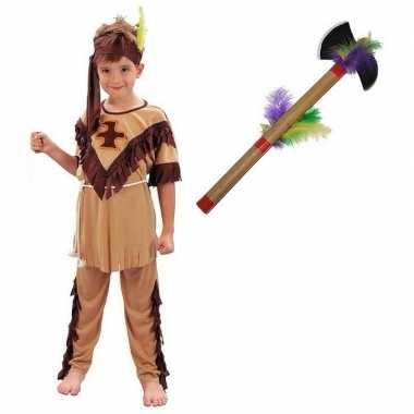 Indianen carnavalskleding maat l tomahawk kinderen valkenswaard