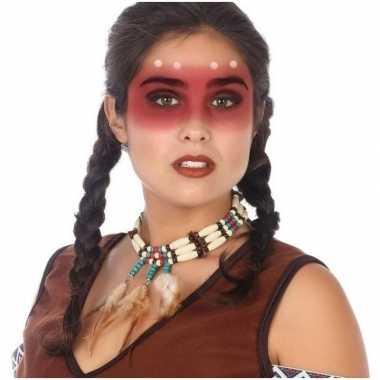 Indianen verkleed accessoire ketting kralen veren carnavalskleding va