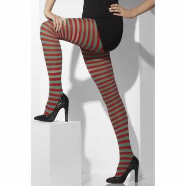 Kerstelf panty rood/groen dames carnavalskleding valkenswaard