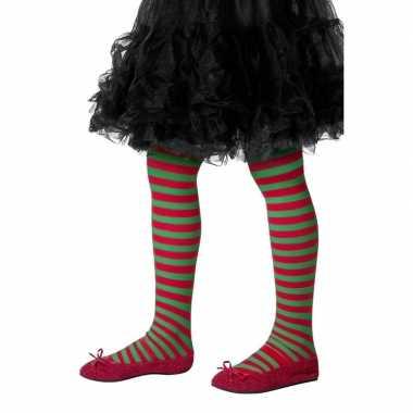 Kerstelf panty rood/groen meisjes carnavalskleding valkenswaard