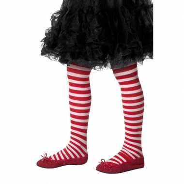 Kerstjurk panty rood/wit gestreept meisjes carnavalskleding valkenswa