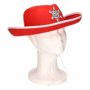 Kinder cowboyhoed rood/wit carnavalskleding valkenswaard