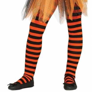 Kinder panty oranje/zwart gestreept carnavalskleding valkenswaard