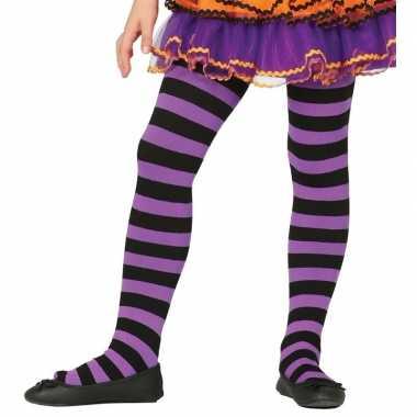 Kinder panty paars/zwart gestreept carnavalskleding valkenswaard
