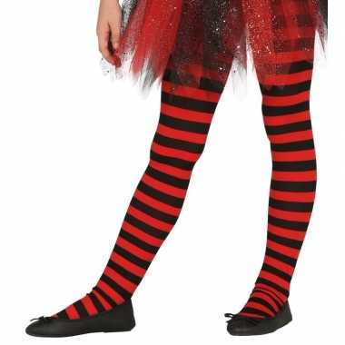 Kinder panty rood/zwart gestreept carnavalskleding valkenswaard
