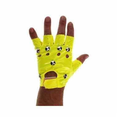 Knalgele vingerloze handschoenen