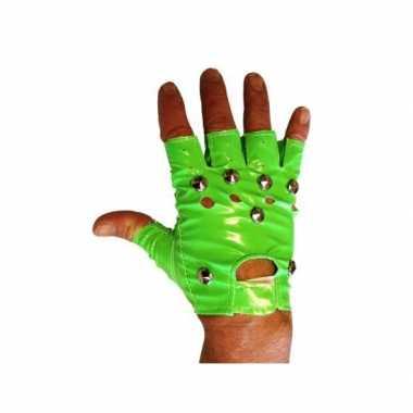 Knalgroene vingerloze handschoenen