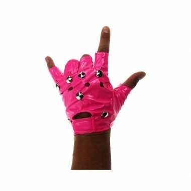 Knalroze vingerloze handschoenen