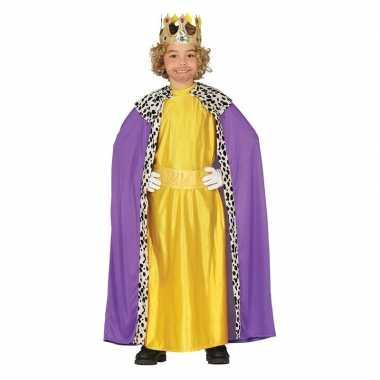 Koning mantel paars geel verkleedcarnavalskleding kinderen valkenswaa