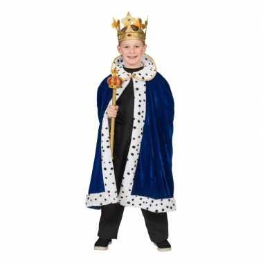 Koning verkleed cape blauw jongens carnavalskleding valkenswaard