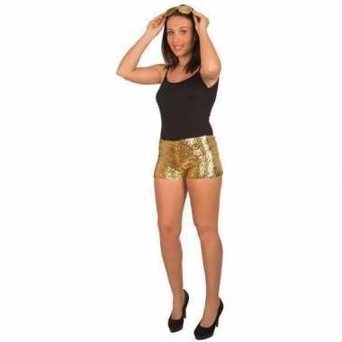Kort carnavalsbroekje gouden pailletten dames carnavalskleding valken