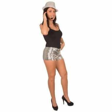 Kort carnavalsbroekje zilveren pailletten dames carnavalskleding valk