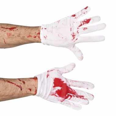 Korte witte handschoenen bloed carnavalskleding valkenswaard