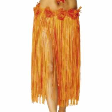 Lang oranje Hawaii rokje carnavalskleding Valkenswaard